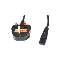 UK Plug to Euro Fig 8 1.9M Black 3A Rated