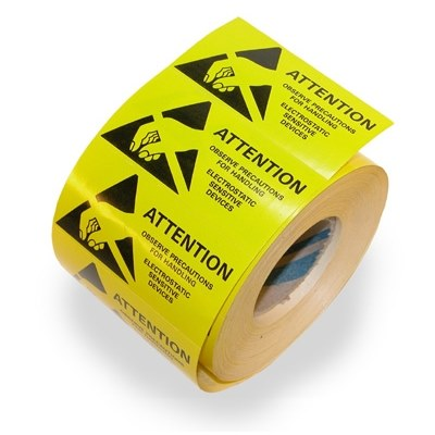 ESD Warning Labels 12.5x12.5mm 1000 labels per reel
