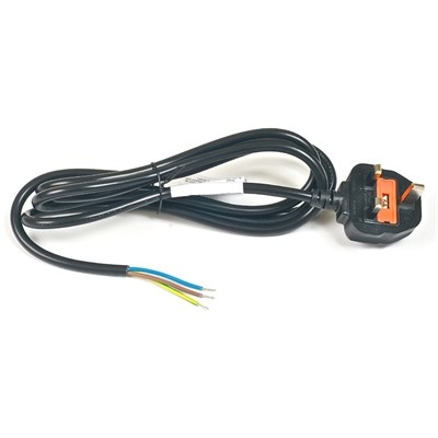 2m Moulded Cordset 13A to stripped end cable, black