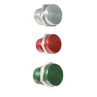Aluminium 16mm Piezo Switch Non-illuminated Green