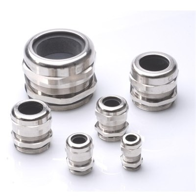 M12 IP68 Nickel Plated Brass Cable Gland & Locknut. Pk x 5