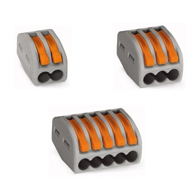 WAGO 2 Wire Spring Connector 300V 32A  Grey/Orange  Box 50